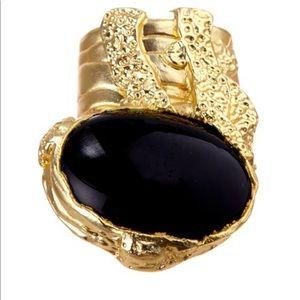 🖤 Bansri Laurent Black Quartz Stone Ring 🖤